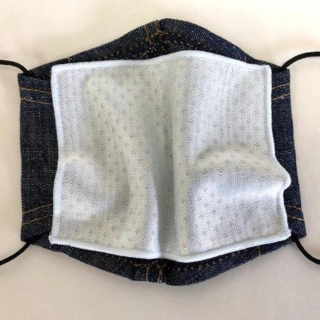 キッズサイズ 接触冷感シート付き 広島産 綿麻デニムマスク