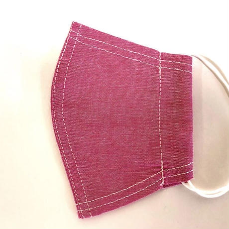 接触冷感シート付き 広島産 カラーシャンブレーマスク ピンク