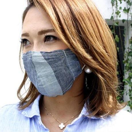 広島産 綿麻ストライプマスク