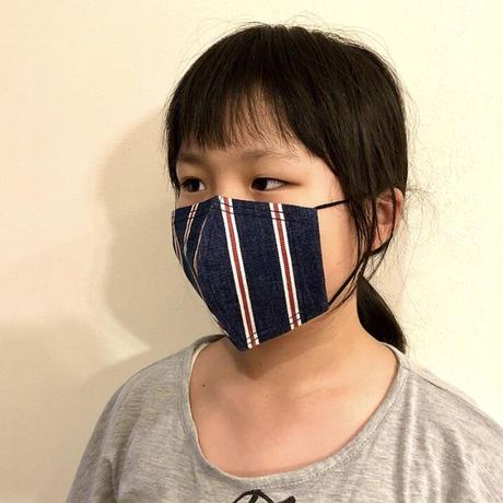キッズサイズ 接触冷感シート付き 広島産 ストライプデニムマスク