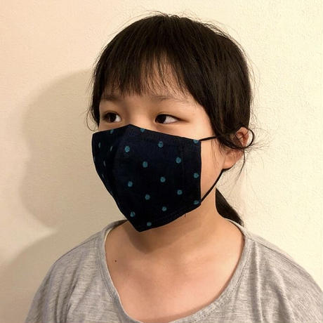 キッズサイズ 接触冷感シート付き 広島産 ドットデニムマスク