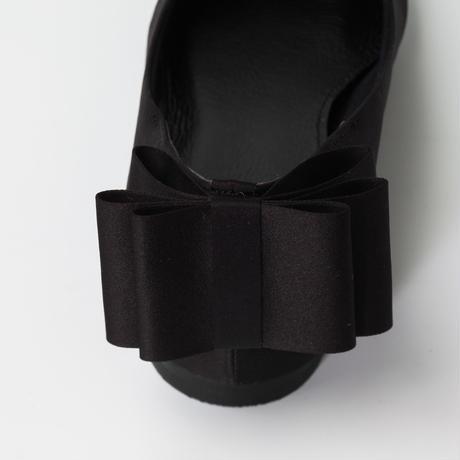 SM02 ブラックサテンバックリボン フラットシューズ