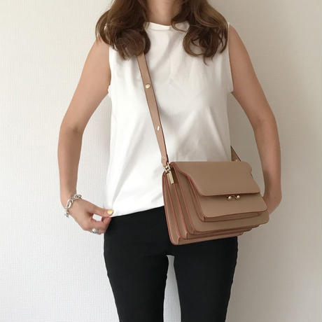 leather box bag(beige)