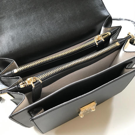 leather box bag(black)