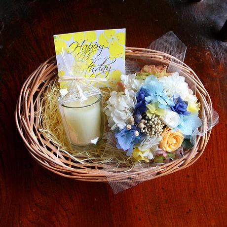 プリザーブドフラワーミニバスケット(ブルーオレンジ)&蜜蝋グラスキャンドル(アイボリー)GIFTセット