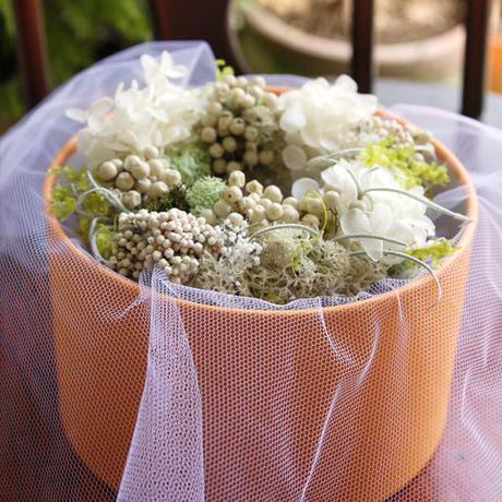 ミニリース GIFT BOX (ホワイト&グリーン)