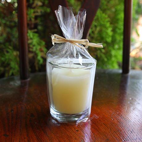 プリザーブドフラワーミニバスケット&蜜蝋グラスキャンドル(アイボリー)GIFTセット