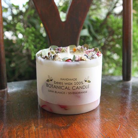 ミツロウボタニカルキャンドル(花冠オフホワイト&ピンク)
