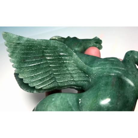 希少・一刀彫 グリーンアベチュリン ペガサス 彫刻:中国