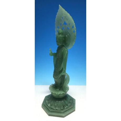 現代名工作 観音像 彫刻 グリーンクォーツ