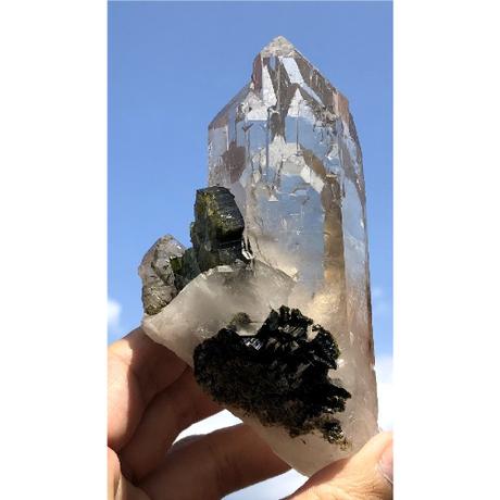 非加熱シトリン・グリーントルマリン共生 原石  CT-006