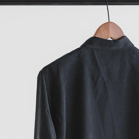 Modal & polyester dyed poplin long sleeve shirt (black)