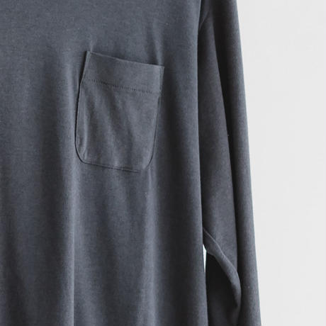 Cotton modal long sleeve pocket cut and sew (charcoal gray)