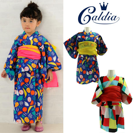 Caldia / カルディア カラフルフルーツ柄 ガールズ 浴衣 ワンピースセット S(90cm)