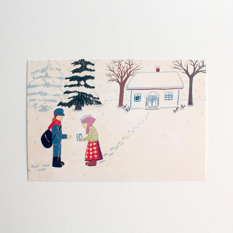 ポストカード「シニッカさん どうしたの?」5. 雪の日