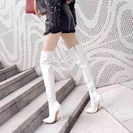 レザーニーハイブーツ(ホワイト)革 レディース ピンヒール12cm 大きいサイズも!27 28 29cm