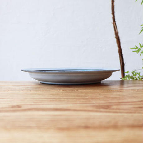 N▶400(エヌ・ヨンヒャク)  リム皿 7寸 ライトブルー