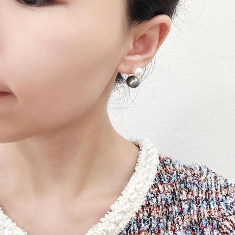 アコヤ真珠×黒蝶真珠2WAYピアス