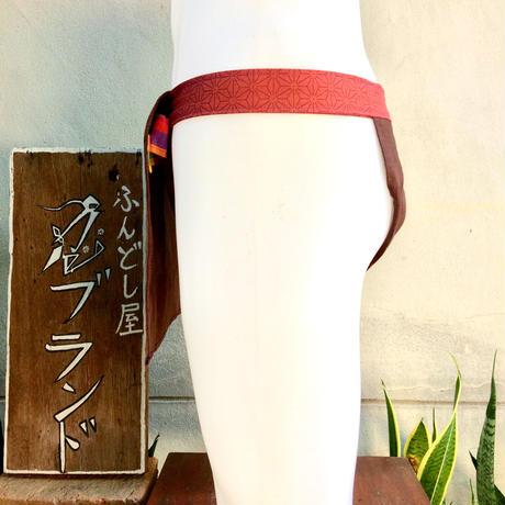 ふんどし 【ヘンプ茶 ヘンプ柄レッド】 ShiNoBi Fundoshi Linen &Hemp Brawn01