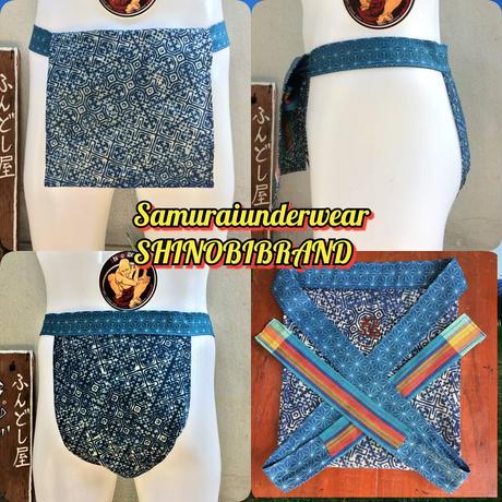 ふんどし【アカ族藍染バティック01】ろうけつ染め Fundoshi Aka Tribe Batique Cotton Indigo Blue01
