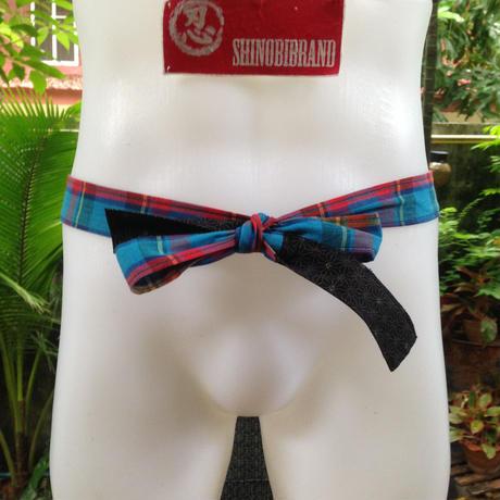 ふんどし【青ライン02】リネンヘンプ Shinobi Samurai Under Wear Blue02(LinenHemp) chanel line pattern