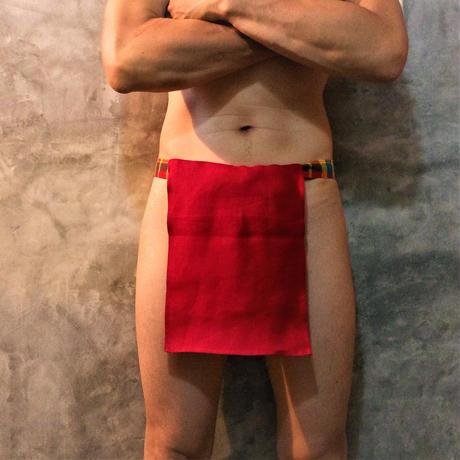 """ふんどし【リネンインレッド】 """"LINEN-IN-RED""""03 忍褌×ShiNoBi Samurai Underwear(素材:ピュアリネン)"""