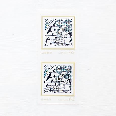 切り絵柄の62円切手2枚組