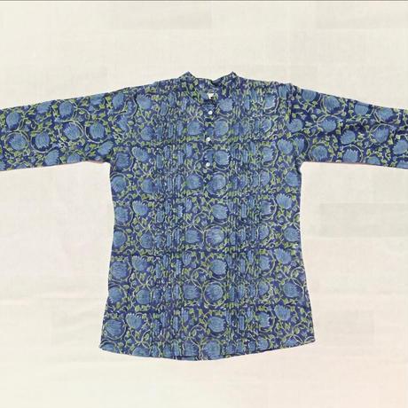 ブロックプリントシャツ風チュニック