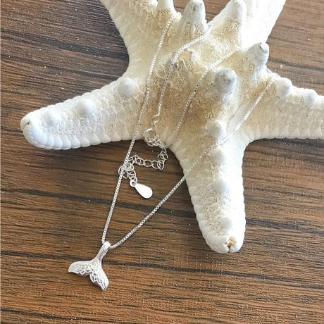 silver925 whale tail necklace