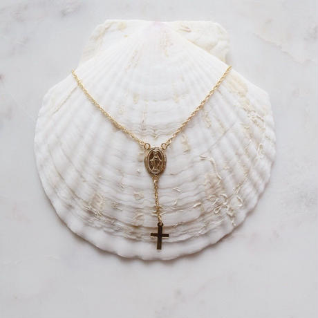 14kgf rosario  cross necklace