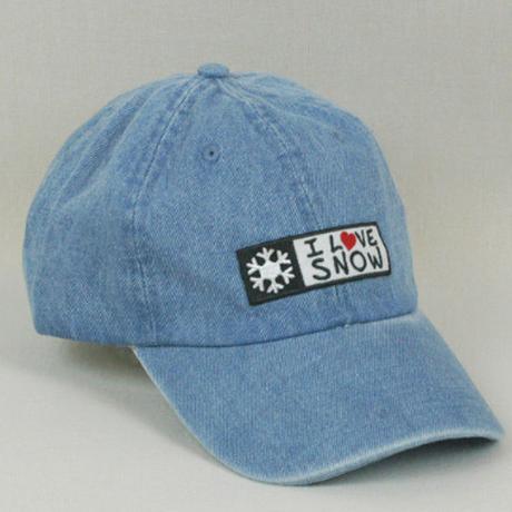 I LOVE SNOW Classic キャップ(ブルー・デニム生地)