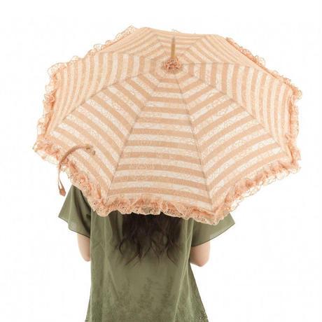 日傘 ひがさ パラソル UVカット 日本製 匠 ボーダー&レースがキレイな大人の日傘 オレンジ