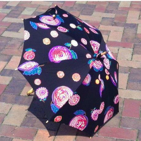 日本製 日傘 ひがさ パラソル UVカット 匠の職人が作る 大花プリント日傘 くろ