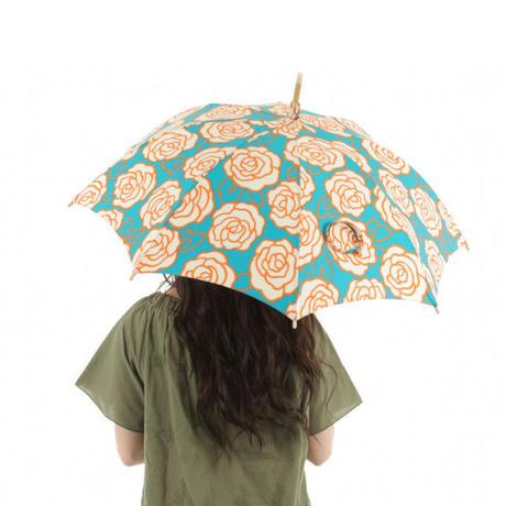 日本製 日傘 ひがさ パラソル UVカット 匠の職人が作る バラのプリント 大人の日傘  ブルー