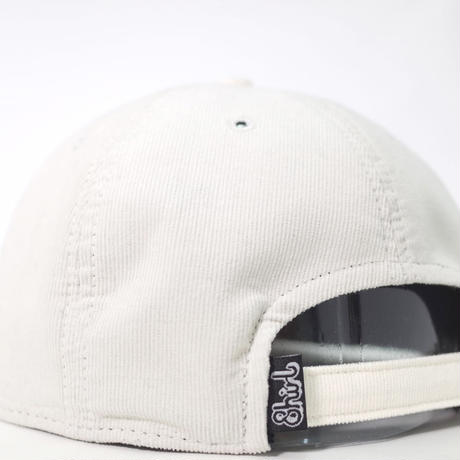 LEATHER PATCH SPRING CORDUROY STRAPBACK 6PANEL CAP (WHITE/BLK PATCH) made in japan (SH170702WHB)