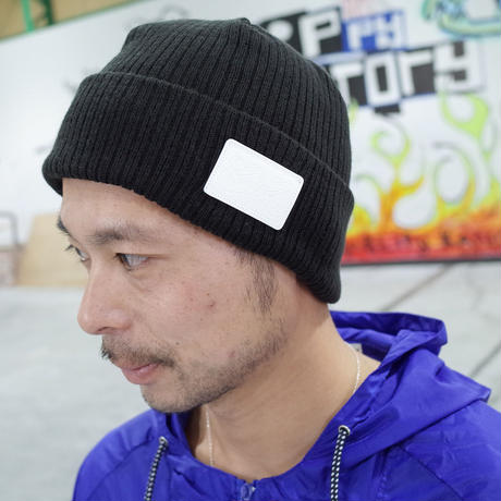 LEATHER PATCH CUFF WATCH CAP  (BLACK) Made in Japan [SH180501BLK]