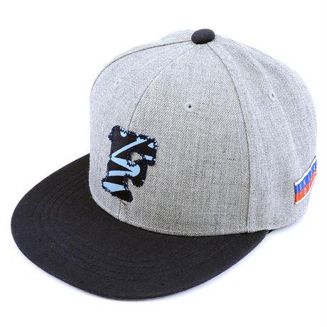 "[WAIF ONE x SHIRL]コラボ ""F"" SNAP BACK CAP (MIX-GREY/NAVY) (SH160207WAF)"