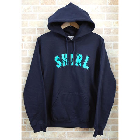 STITCH ARCH  LOGO PULL OVER HOODIE (NAVY)(SH191313NVY)