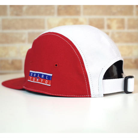 LEATHER PATCH RED-MULTI PANEL  5パネルキャップ ( SH202001RED)