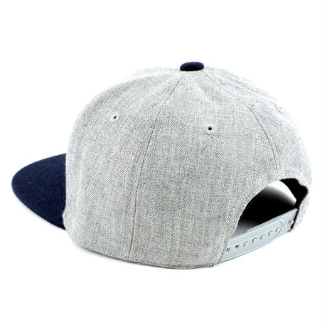 LEATHER PATCH SNAPBACK 6PANEL CAP (MIX-G/NAVY)BLK LEATHER(SH150202GNV)