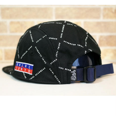 STRIPE ARCH MONOGRAM  5 PANEL CAP (BLACK) made in japan (SH201013BLK)