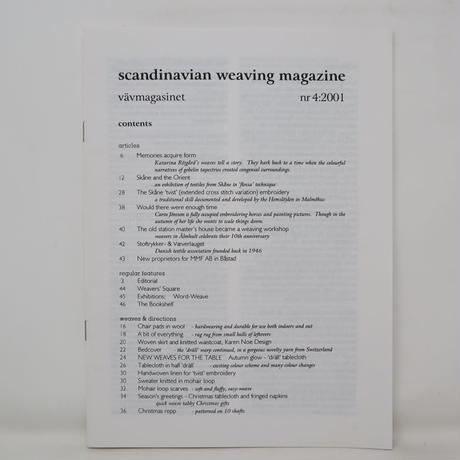 【古本】B2_274 Vav Magasinet VÄVMAGASINET NR4 2001 英訳小冊子付