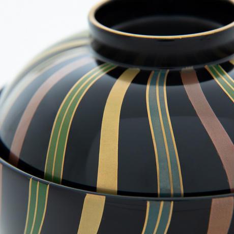 丸椀 黒 ねじり十草 漆 (本金みがき蒔絵)