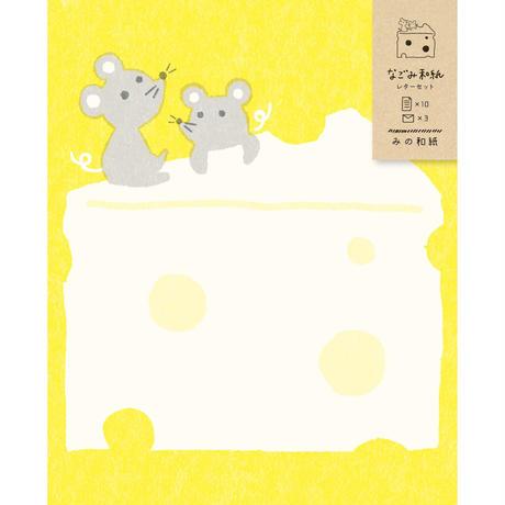 LT342  なごみ和紙レターセット ねずみとチーズ   (03113)