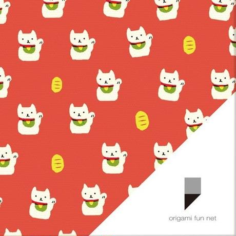 OFN1-03 luck cat, white on red