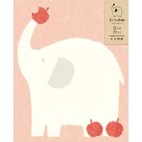LT219 なごみ和紙レターセット りんごとゾウ