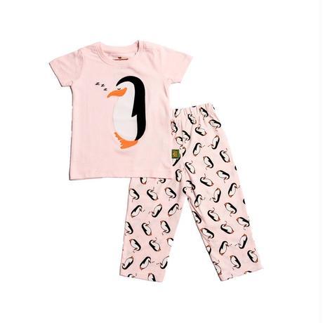 子供用 パジャマ 上下セット ペンギン ピンク 100%オーガニックコットン GOTS認定