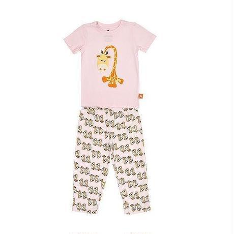 子供用 パジャマ 上下セット キリン ピンク 100%オーガニックコットン GOTS認定