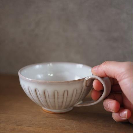 しのぎスープカップ【白萩釉】