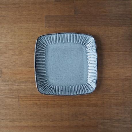 しのぎ5寸角皿【グレー】